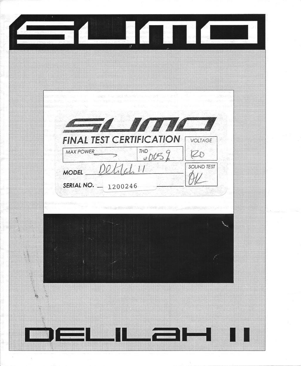 Anyone have copy of a Sumo Delilah Manual?