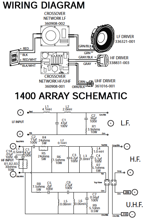 How connect a electronic crossover to JBL Array 1400?