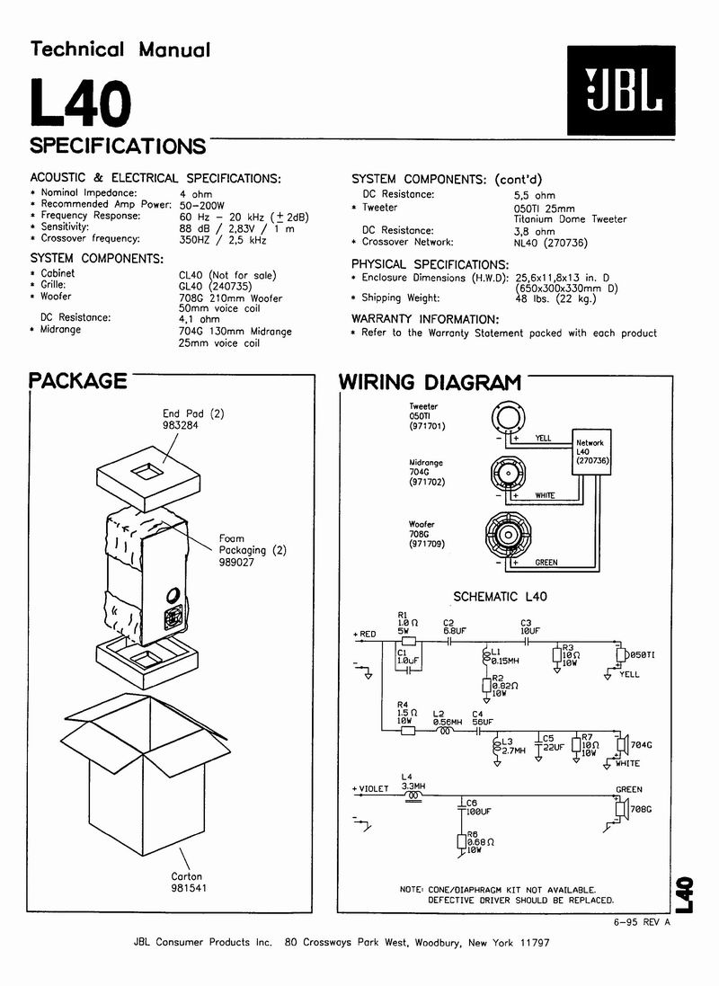 Jbl Crossover Wiring Diagram Library L40 Schematic